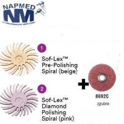 SofLex Diamond Polishing Spiral  uzup. 15szt. w kolorze różowym + 15szt. w kolorze beżowym + GRATIS 8692C